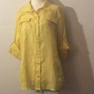 Calvin Klein yellow linen roll tab shirt # L